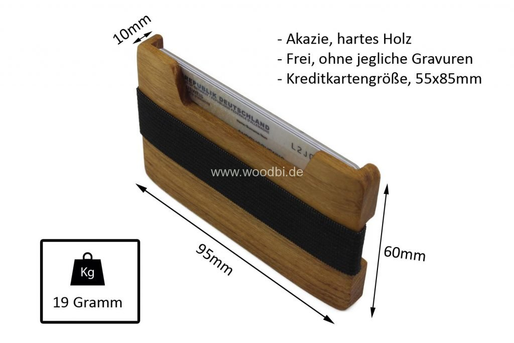 Minimalistische Geldbörse aus Holz in der Holzart Akazie