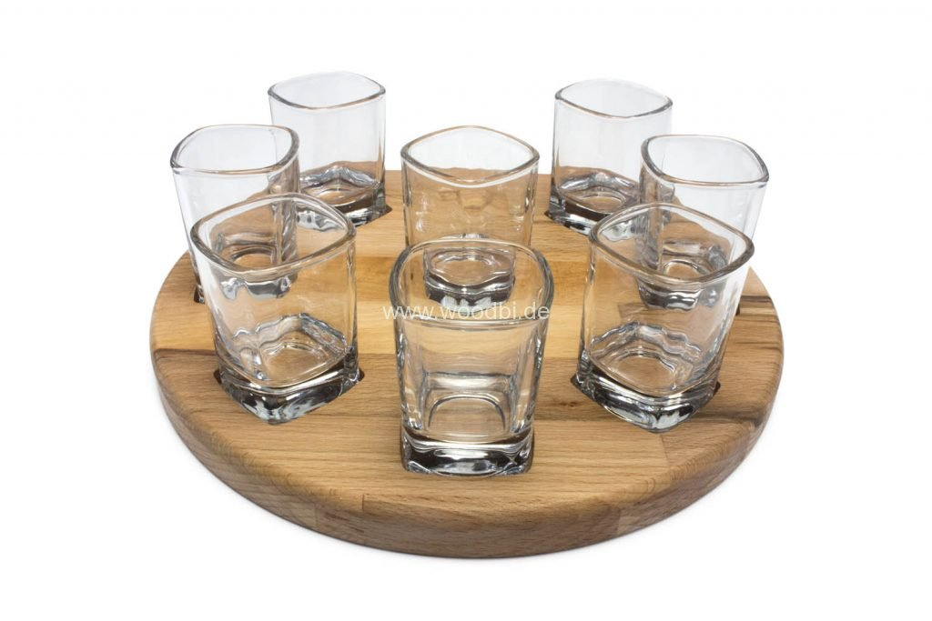 Schnappsleiste mit 8 Gläsern
