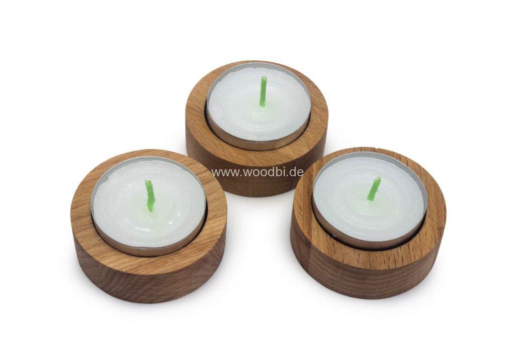 Teelichthalter rund Holz