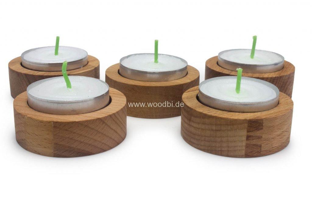 Runde Teelichthalter aus Holz