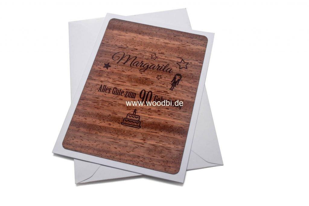 Eine einzigartige Geburtstagskarte aus echtem Holz und Papier. Personalisiert extra für Sie)