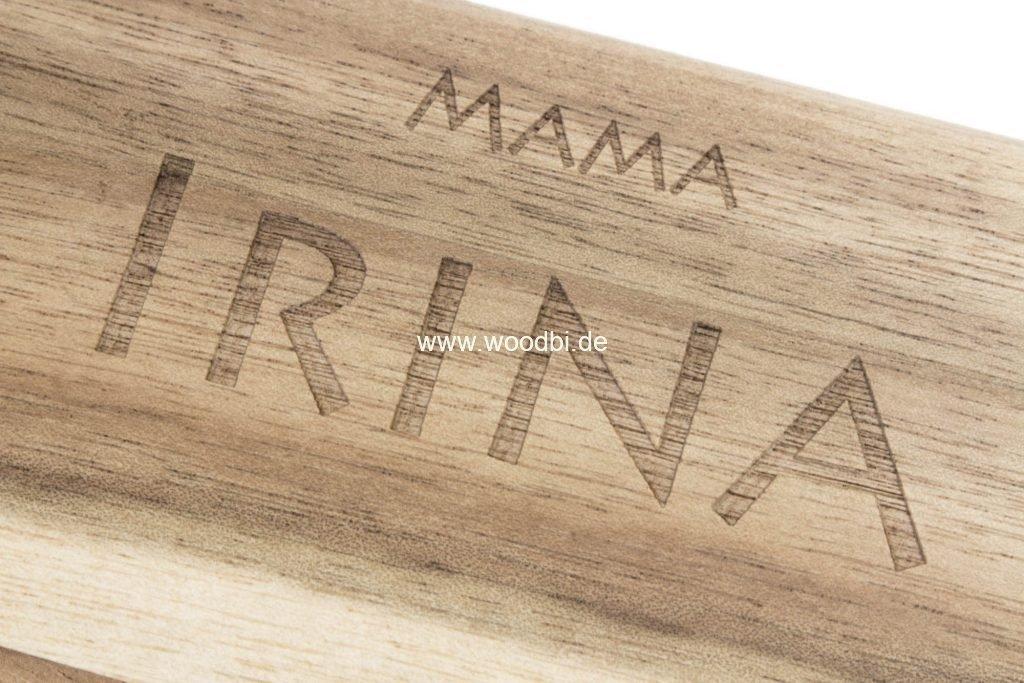 Lasergravuren auf dem Holz von Woodbi
